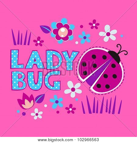 Cute girlish illustration with ladybug and flowers