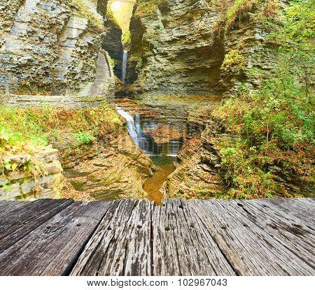 Cave waterfall at Watkins Glen state park, New York, USA