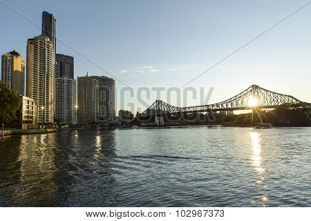 Brisbane Story Bridge sunrise cityscape