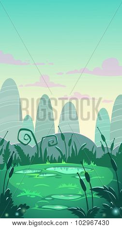 Cartoon vertical landscape illustration