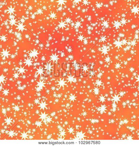 White Stars Irregularly Placed  On Orange Backgroud - Seamless Pattern