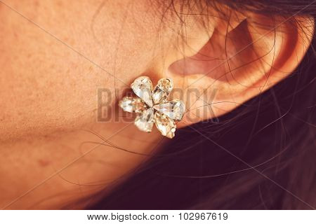 Close-up of bride's beautiful ear rings