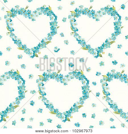 Spring Flowers Heart Background - Seamless Floral Shabby Chic Pattern