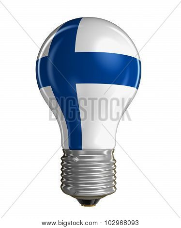 Light bulb with Finnish flag (clipping path included)