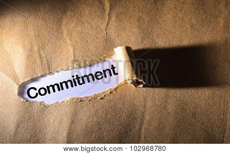 Torn Paper With Word Commitment