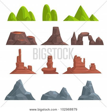 Cartoon hills and mountains set