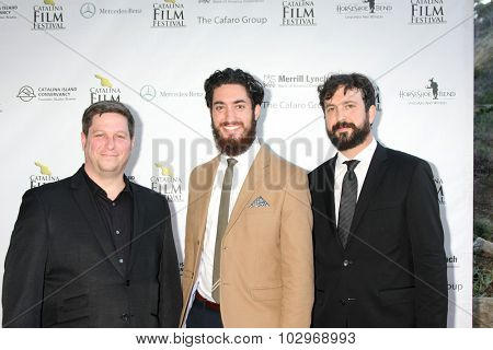 LOS ANGELES - SEP 25:  Jason Tegos, Andrew Ahmed, Ben Brandes at the Catalina Film Festival Friday Evening Gala at the Avalon Theater on September 25, 2015 in Avalon, CA