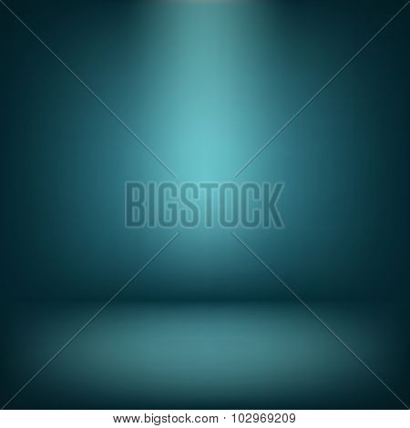 Abstract Illustration Background Texture Of Blue Wall, Flat Floor In Empty Room.eps 10