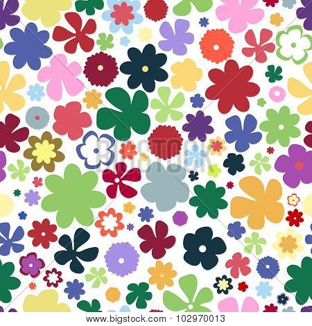 Simple And Beauty Flower Seamless Pattern. Multicolor Vector Illustration Good For Textile And Paper