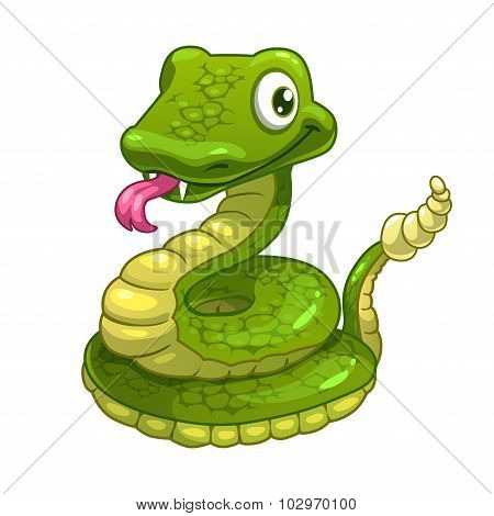 Funny cartoon smiling green snake