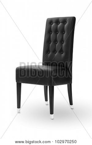 Black chair with wood legs on white background