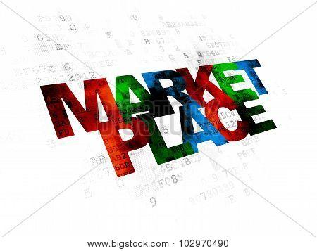 Marketing concept: Marketplace on Digital background