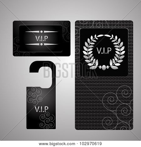 Vip Members Only Premium  Cards Black Silver Design Template Set Isolated Vector Illustration Eps 10