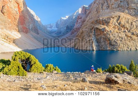 Majestic mountain lake in Tajikistan.