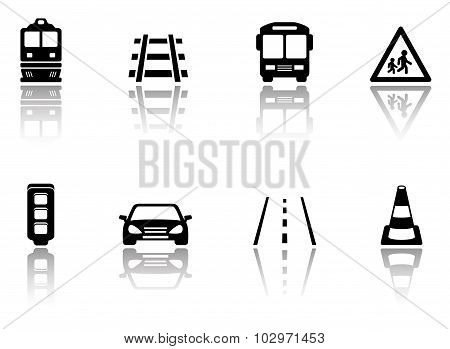 transport icons set with reflection silhouette