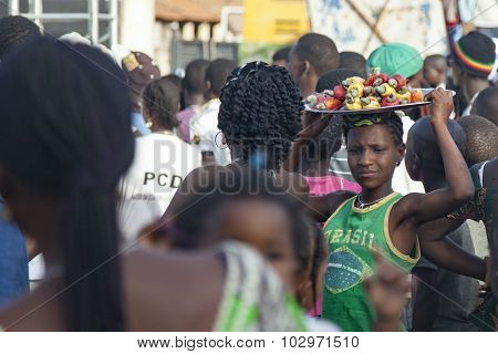 African cashew apple vendor