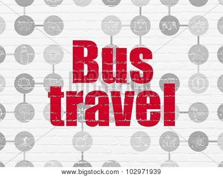 Tourism concept: Bus Travel on wall background