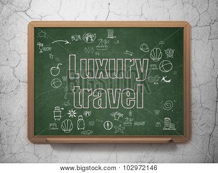 Travel concept: Luxury Travel on School Board background
