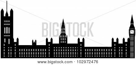 Image Of Cartoon Houses Of Parliament And Big Ben Silhouette. Vector Illustration Isolated On White