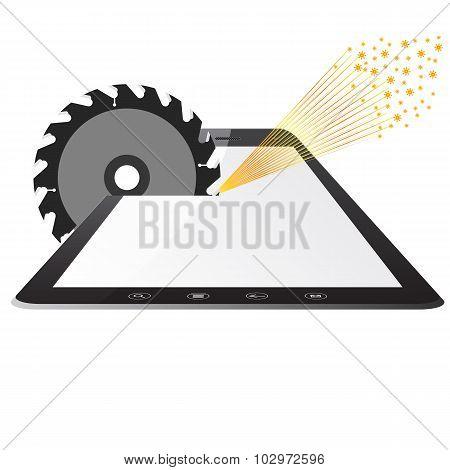 Tablet PC computer  a saws circular saws
