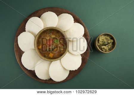 Sambar with Idli with Coconut Chutney, Indian Dish