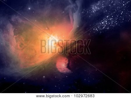 Nebula. Cloud of gas and dust blocks the light of distant stars