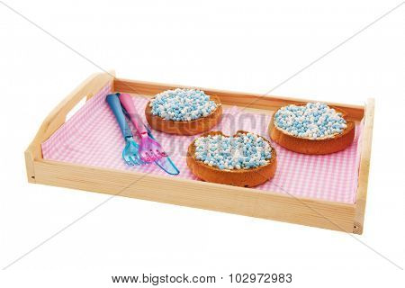 Dutch tradition blue mice on biscuits while baby boy born isolated over white background
