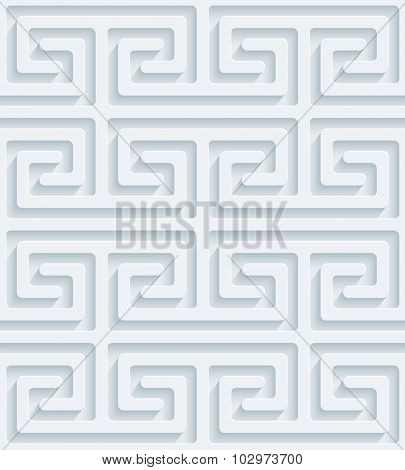 Greek meander 3d seamless background. Light perforated paper pattern with cut out effect.