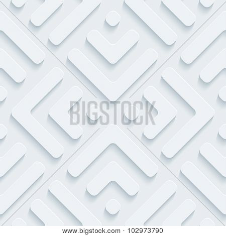 Plate 3d seamless background. Light perforated paper pattern with cut out effect.