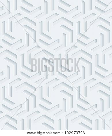 Hexagonal 3d seamless background. Light perforated paper pattern with cut out effect.