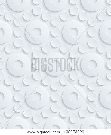 Circles 3d seamless background. Light perforated paper pattern with cut out effect.