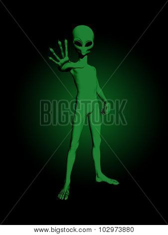 3D render of a green alien figure