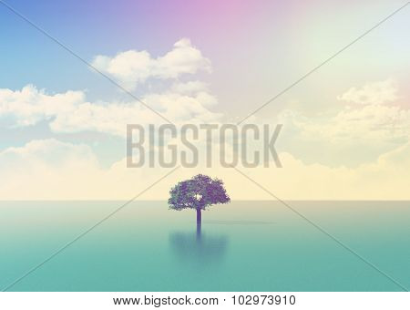 3D landscape with a tree in the sea with retro effect added