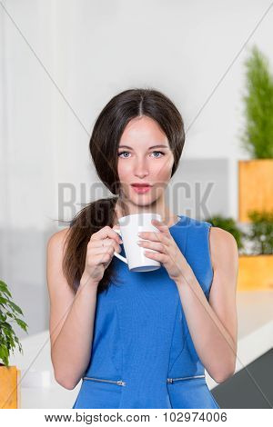 Young businesswoman holding a cup off coffee. Beautiful girl drinking coffee or tea in cafe. Lovely