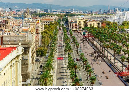 Passeig de Colom in Barcelona, Catalonia, Spain