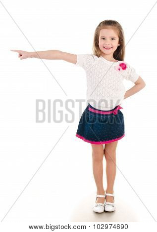 Smiling Little Girl Points Direction By Forefinger