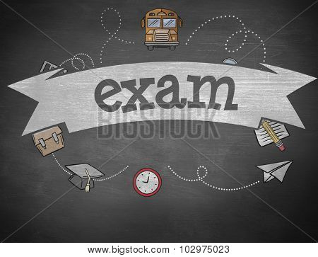 The word exam and school graphics against black background