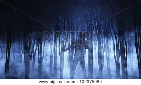 3D render of a demonic figure in a foggy forest
