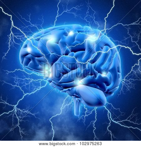 3D render of a brain with lightening bolts