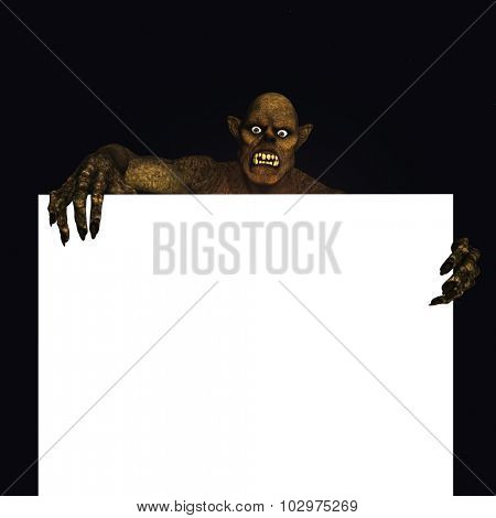 3D render of a Halloween monster holding a blank sign