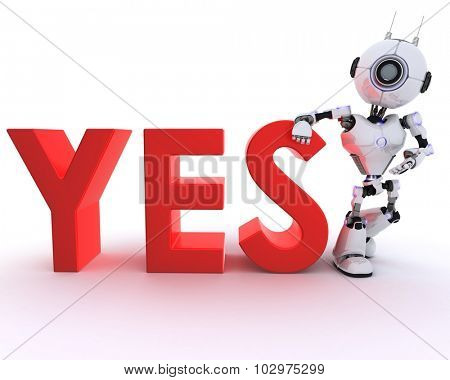 3D Render of a Robot with say sign