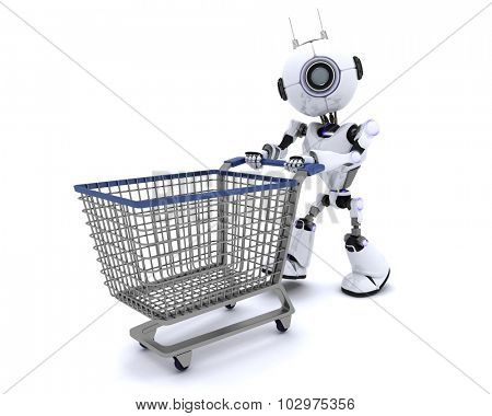 3D Render of a Robot with shopping cart