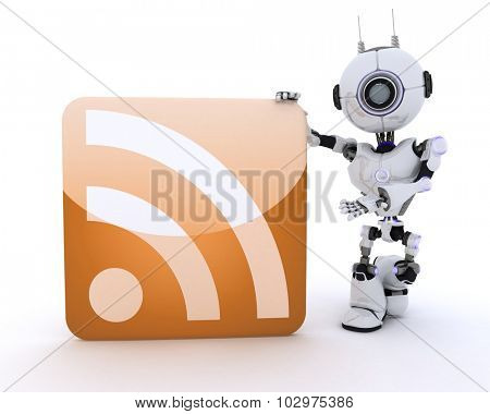 3D Render of a Robot with an RSS symbol