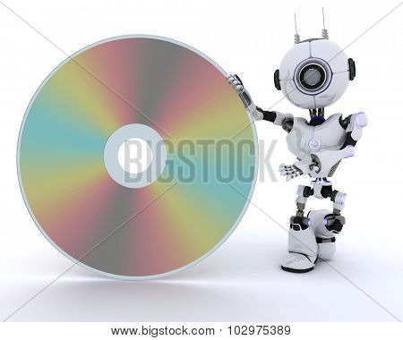 3D Render of a Robot with a dvd