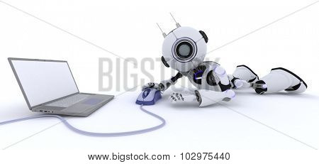 3D Render of a Robot with a laptop