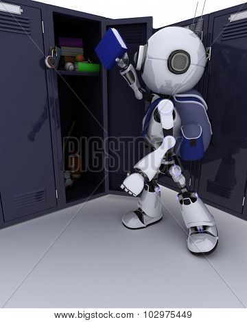 3D Render of an Android with school bag and locker