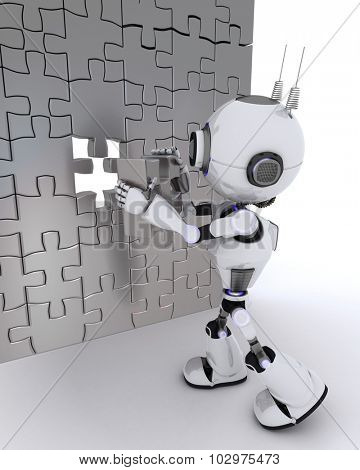 3D render of a Robot with jigsaw puzzle
