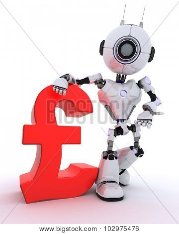 3D Render of a Robot with pound sign