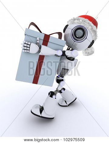 3D render of a Robot with christmas gift