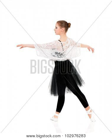 Professional ballet dancer, isolated on white background